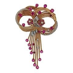 Midcentury Retro Ruby Diamond Gold Brooch Pendant