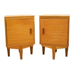 Midcentury Retro Teak Bedside Cabinet Tables, Set of 2