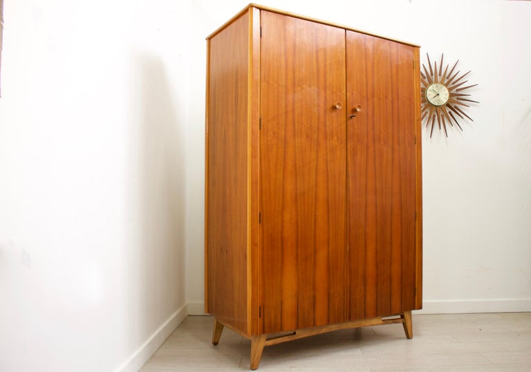 Veneer Midcentury Retro Walnut Wardrobe For Sale