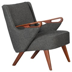 Midcentury Reupholstered Dark Grey Easy chair by C. Findahl Brodersen, 1950s