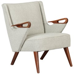 Midcentury Reupholstered Ecru Easy Chair by C. Findahl Brodersen, 1950s