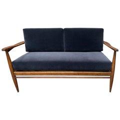 Midcentury Reupholstered Velvet Settee