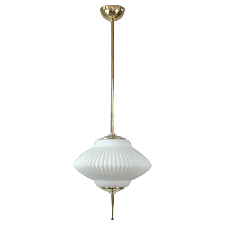 Midcentury Ribbed Milk Glass & Brass Globe Pendant, Stilnovo 'attr.'