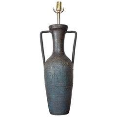 Midcentury Rimini Blue, Aldo Londi Bitossi, Ceramic Table Lamp, 1950s