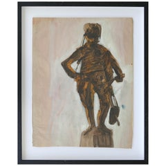 Midcentury Robert Andrew Parker Abstract Painting, Sepia Tone Figure