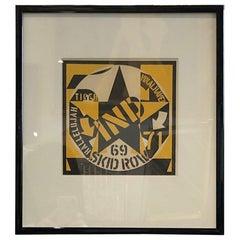 Midcentury Robert Indiana Original Signed Lithograph Skid Row Autoportrait, 1973