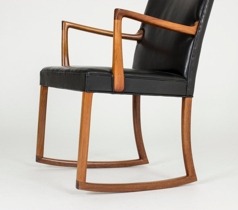 Leather Midcentury Rocking Chair by Ole Wanscher For Sale