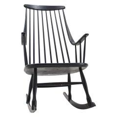 Midcentury Rocking Chair Grandessa, Lena Larsson for Nesto, Sweden, 1960s