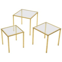 Midcentury Roger Thibier Gilt Wrought Iron Gold Leaf Nesting Tables, 1960s