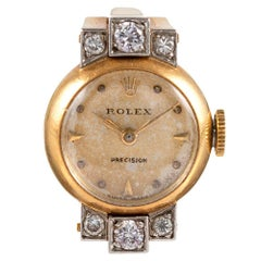 Midcentury Rolex Ring Watch with Diamonds and Original Box