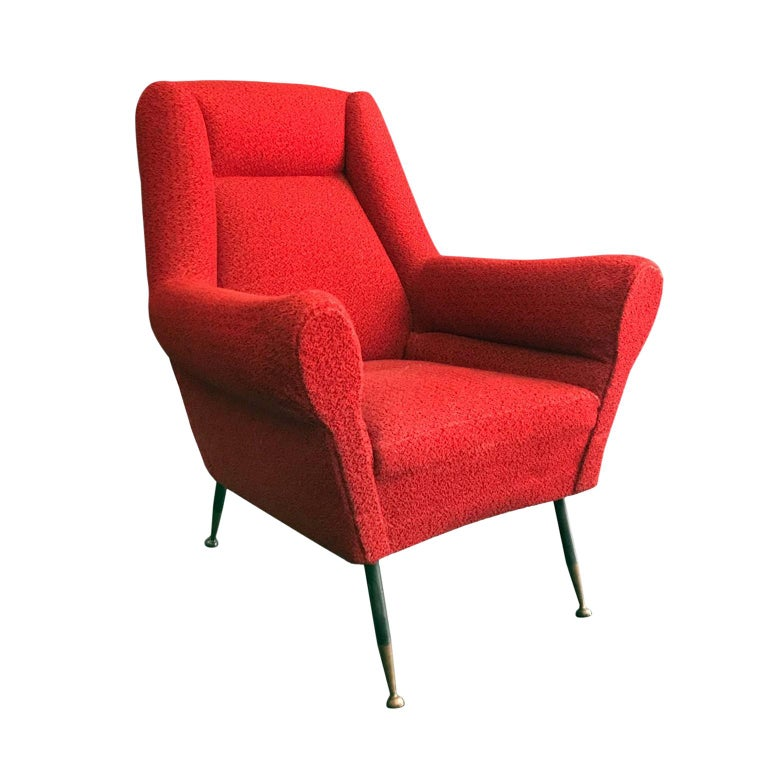 Midcentury Rolled Armchair in Original Red Boucle with Iron Legs For Sale