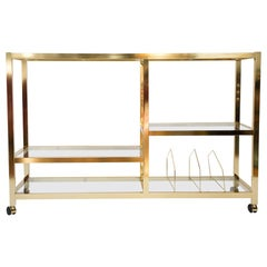 Midcentury Rolling Brass and Glass Bar Cart