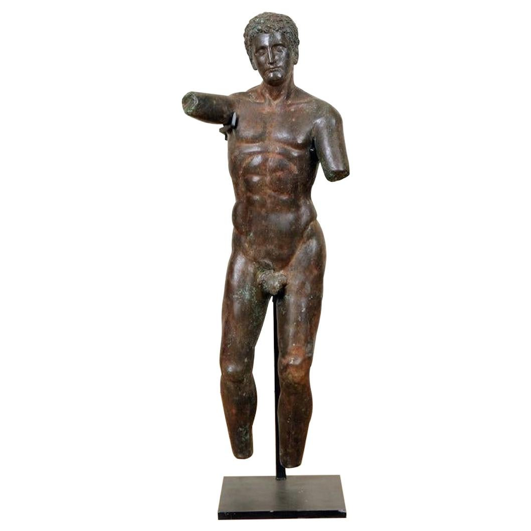 Midcentury Roman Bronze Sculpture of a Classical Nude Male
