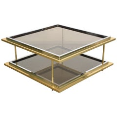 Midcentury Brass, Chrome and Glass Italian Coffee Table after Romeo Rega, 1970