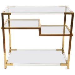 Midcentury Romeo Rega Style Lucite and Gold Brass Italian Console Table, 1970s