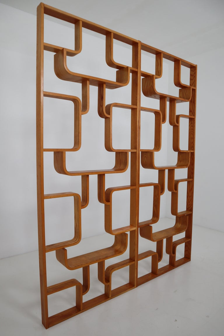 Midcentury flower (dividing) wall made of the bentwood plywood and features geometric patterns, designed by Ludvik Volak in the Czech Republic in the 1950s-1960s and manufactured by Thonet. Amazing good condition and wonderful warm patina.  Note
