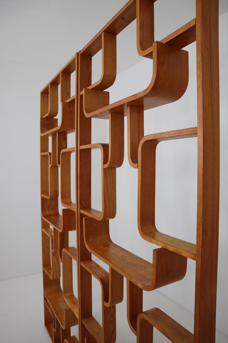 Midcentury Room Divider Shelves for Thonet in Bent-Wood, circa 1960s For Sale 1