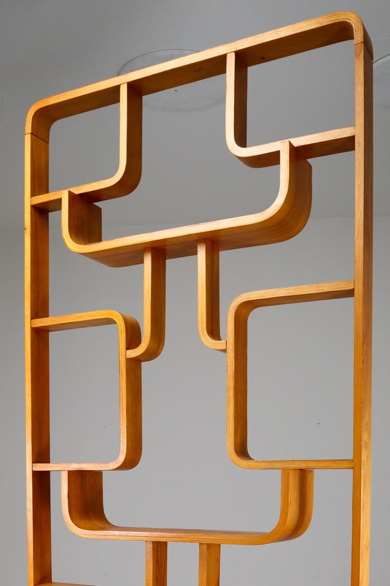 Mid-Century Modern Midcentury Room Divider Shelves in Bent-Wood Praque, 1950s For Sale