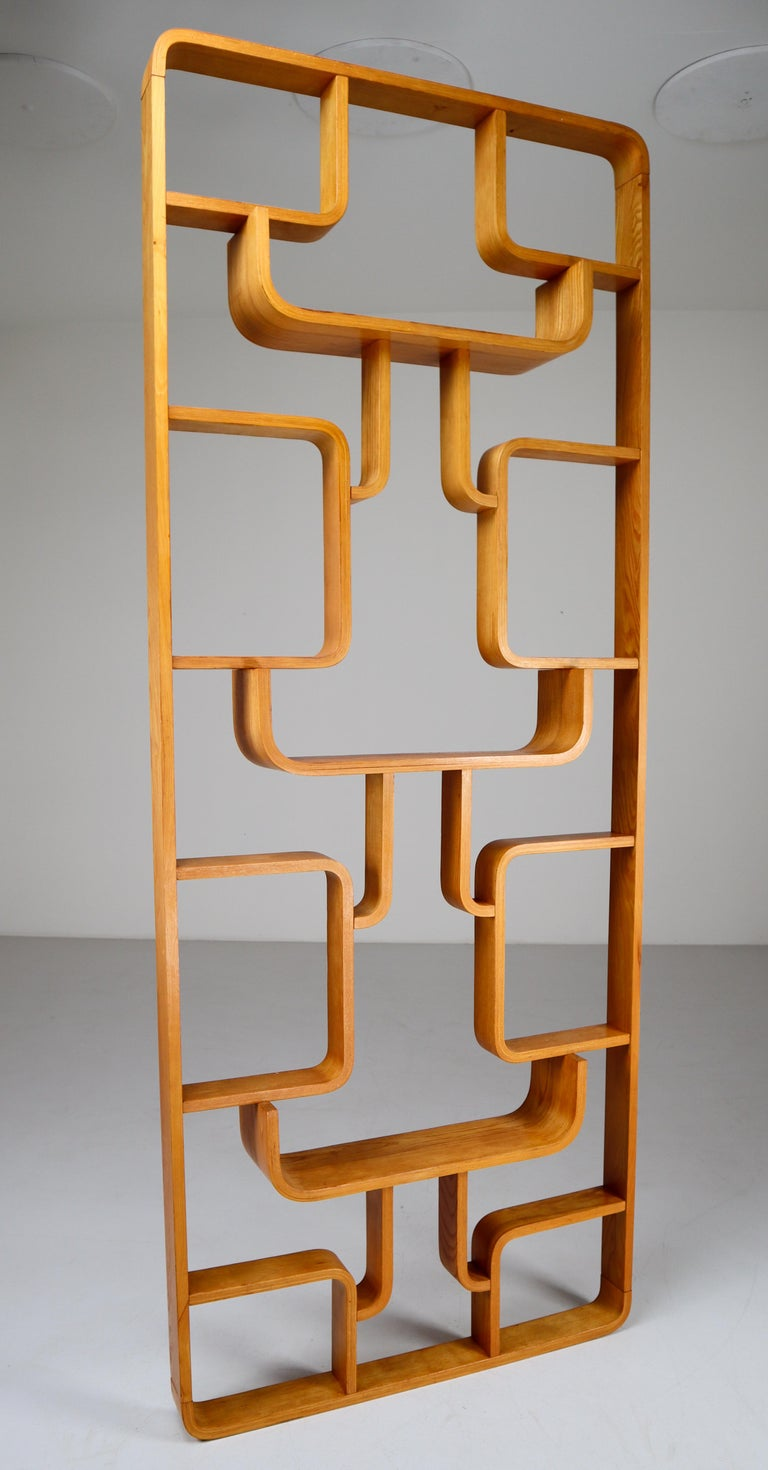Midcentury Room Divider Shelves in Bent-Wood Praque, 1950s In Good Condition For Sale In Almelo, NL