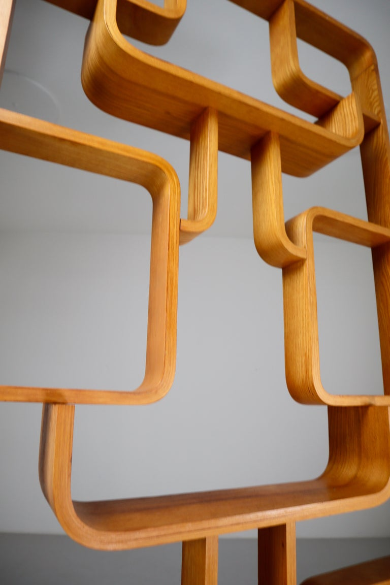20th Century Midcentury Room Divider Shelves in Bent-Wood Praque, 1950s For Sale