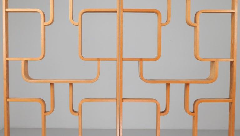 Mid-Century Modern Midcentury Room Divider Shelves in Blond Bent-Wood, Praque, 1960s For Sale
