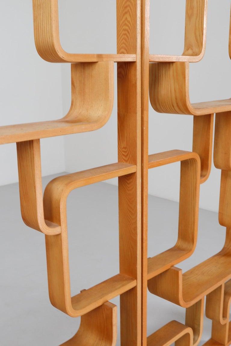 Czech Midcentury Room Divider Shelves in Blond Bent-Wood, Praque, 1960s For Sale