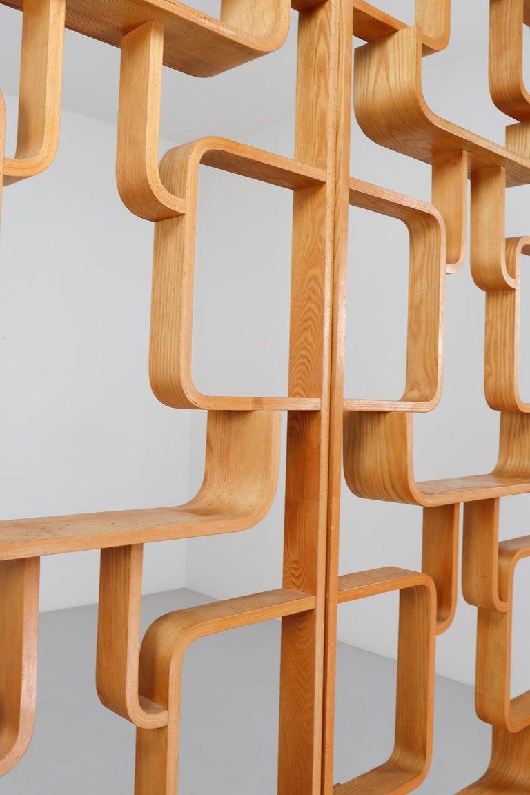 Bentwood Midcentury Room Divider Shelves in Blond Bent-Wood, Praque, 1960s For Sale
