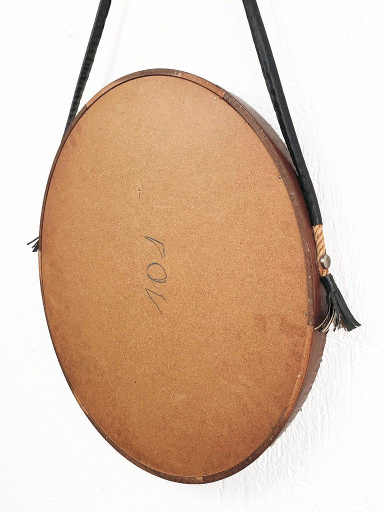 Midcentury Rope and Leather Round Teak Framed Italian Wall Mirror, 1960s For Sale 5