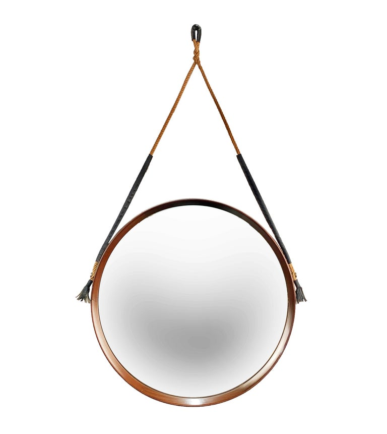 Mid-Century Modern Midcentury Rope and Leather Round Teak Framed Italian Wall Mirror, 1960s For Sale