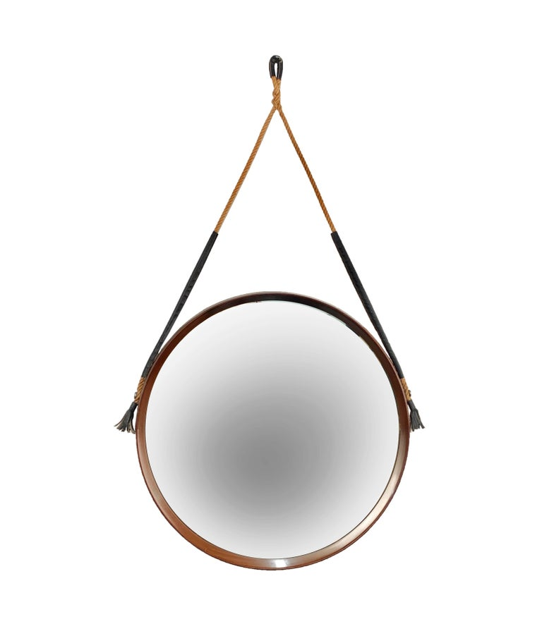 20th Century Midcentury Rope and Leather Round Teak Framed Italian Wall Mirror, 1960s For Sale