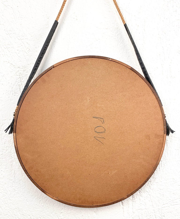 Midcentury Rope and Leather Round Teak Framed Italian Wall Mirror, 1960s For Sale 3