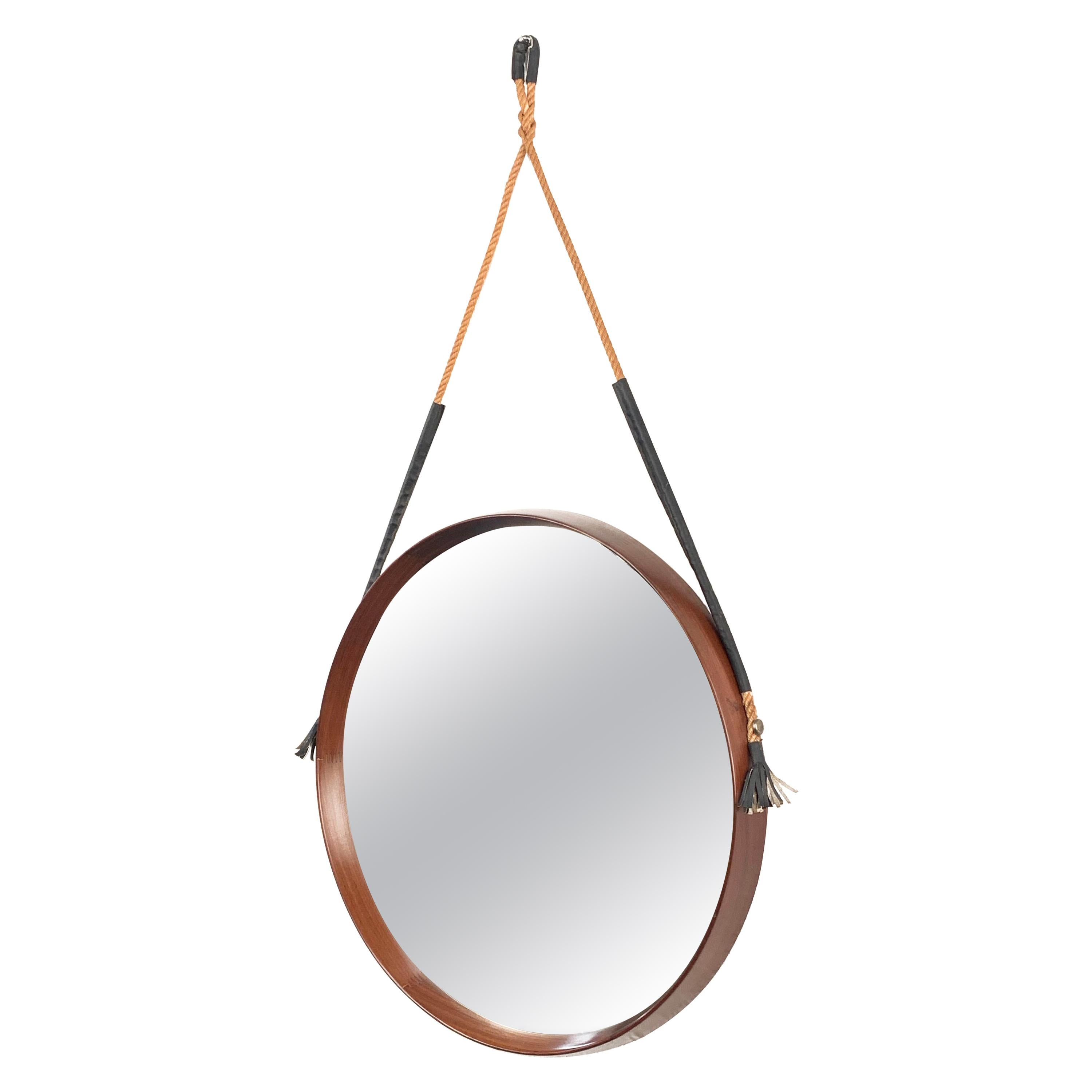 Midcentury Rope and Leather Round Teak Framed Italian Wall Mirror, 1960s