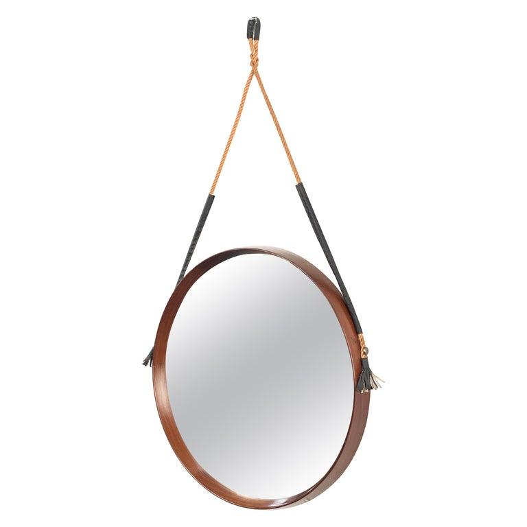 Midcentury Rope and Leather Round Teak Framed Italian Wall Mirror, 1960s For Sale