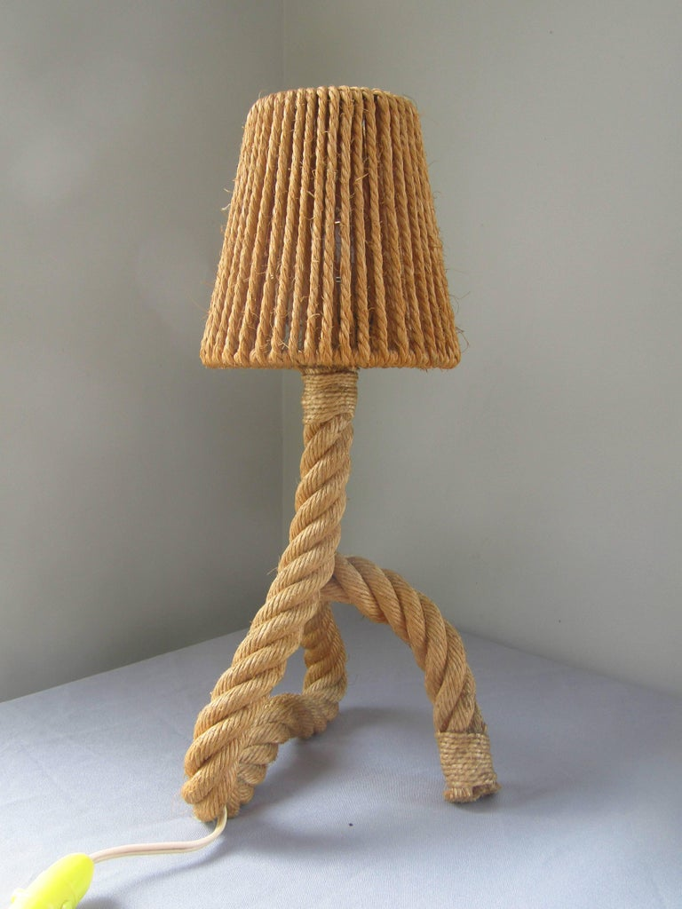 Midcentury Rope Table Desk Lamp Audoux and Minet, France, 1960s. good vintage condition, original shade!  *** free shipping anywhere in the world! ***
