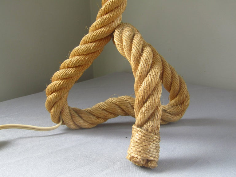 French Midcentury Rope Table Desk Lamp Audoux and Minet, France, 1960s For Sale