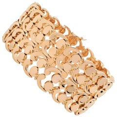 Mid-Century Rose Gold Fancy Link Wide Bracelet