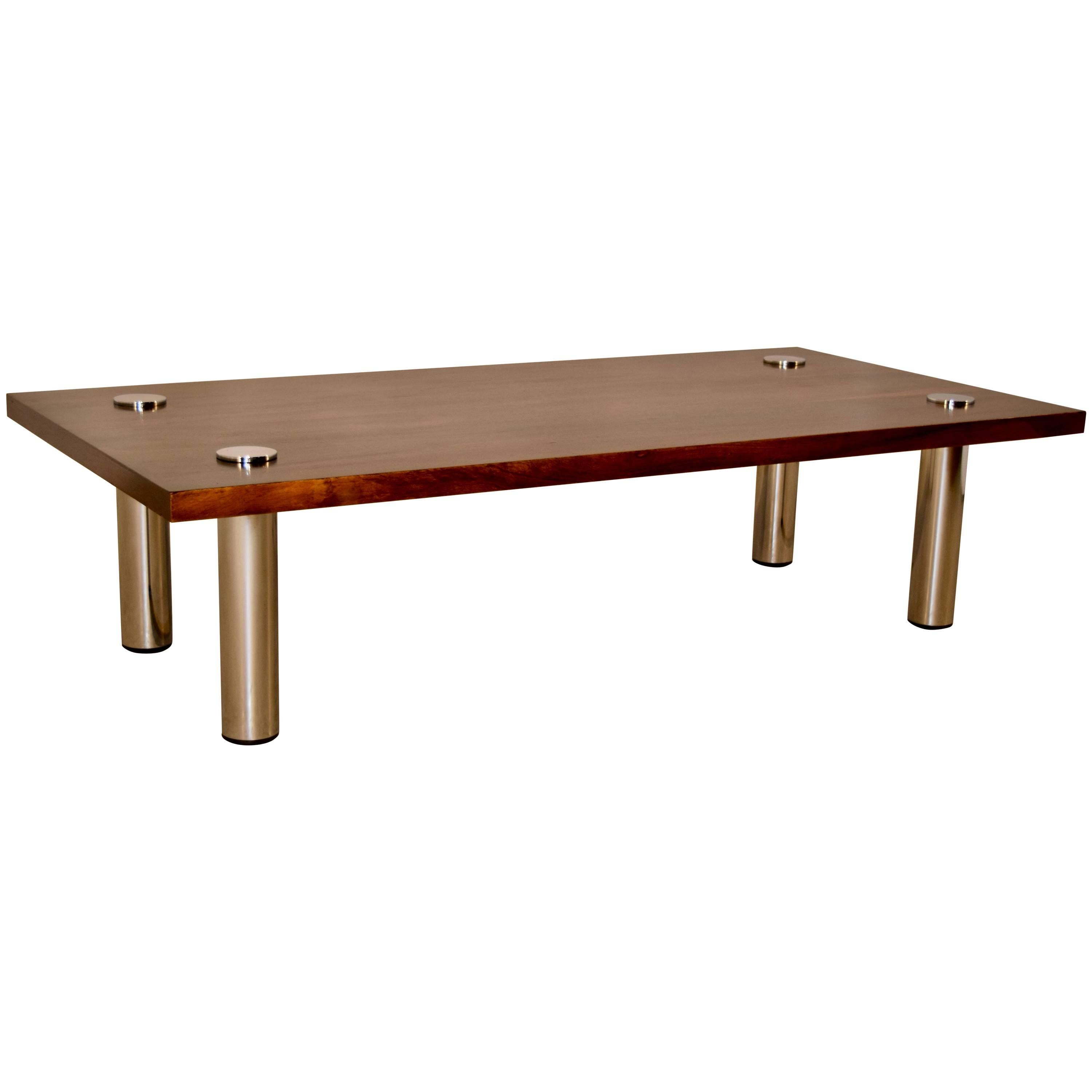 Midcentury Rosewood and Chrome Coffee Table