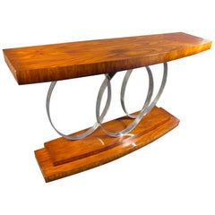 Midcentury Rosewood and Chrome Console Table