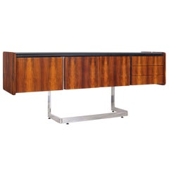 Midcentury Rosewood and Chrome Credenza by Ste. Marie & Laurent