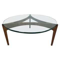 Midcentury Rosewood and Glass Coffee Table by S. Ellekaer, Denmark, circa 1960