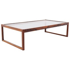 Midcentury Rosewood and Glass Coffee Table