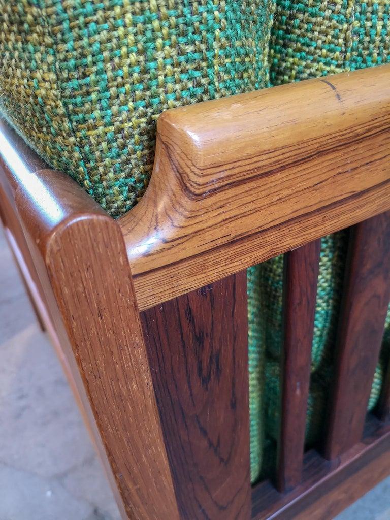 Swedish Midcentury Rosewood and Green Cushions Sofa