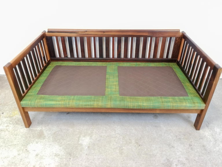 Midcentury Rosewood and Green Cushions Sofa