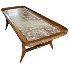 Midcentury Rosewood and Marble Coffee Table by Giuseppe Scapinelli