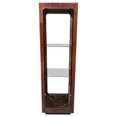 Modern midcentury rosewood and smocked glass shelf by John Keal, 1960