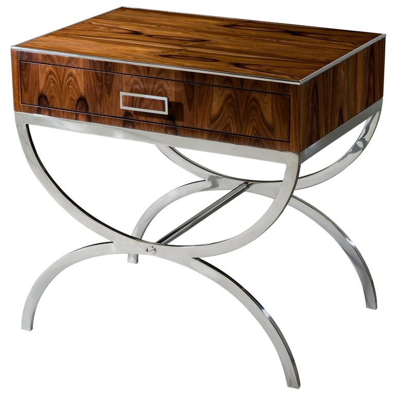 Midcentury Rosewood and Steel Bedside Table