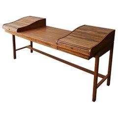 Midcentury Rosewood and Walnut Desk by Edward Wormley for Dunbar