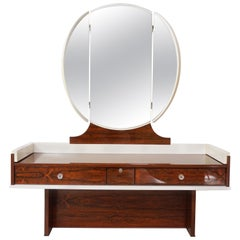 Midcentury Rosewood and White Lacquered Dressing Table