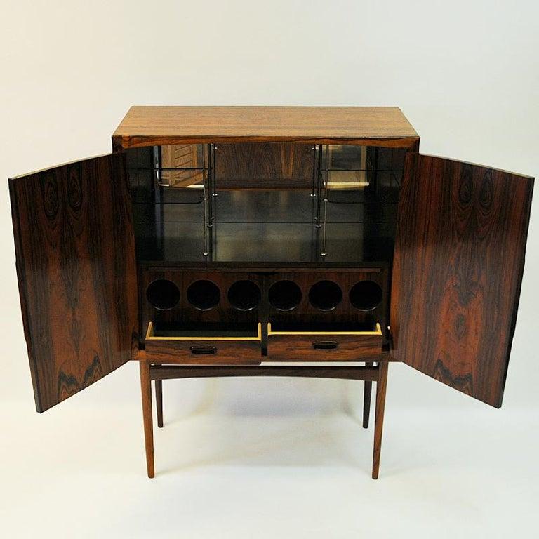 Polished Midcentury Rosewood bar Baccus by Torbjørn Afdal, Norway 1955 For Sale