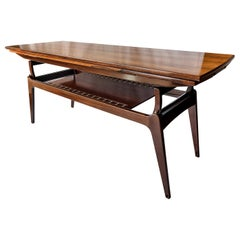 Midcentury Rosewood Metamorphic Elevator Coffee Dinner Table, B. C. Møbler, 60's